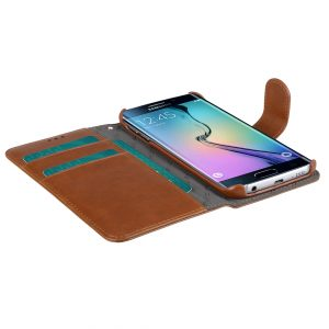 Melkco Mini PU Cases for Samsung Galaxy S6 Edge - Wallet Book Type (Traditional Vintage Brown PU)