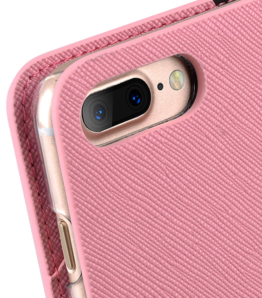 Melkco Fashion Cocktail Series slim Filp Case for Apple iPhone 7 Plus(5.5') (Pink Cross pattern)