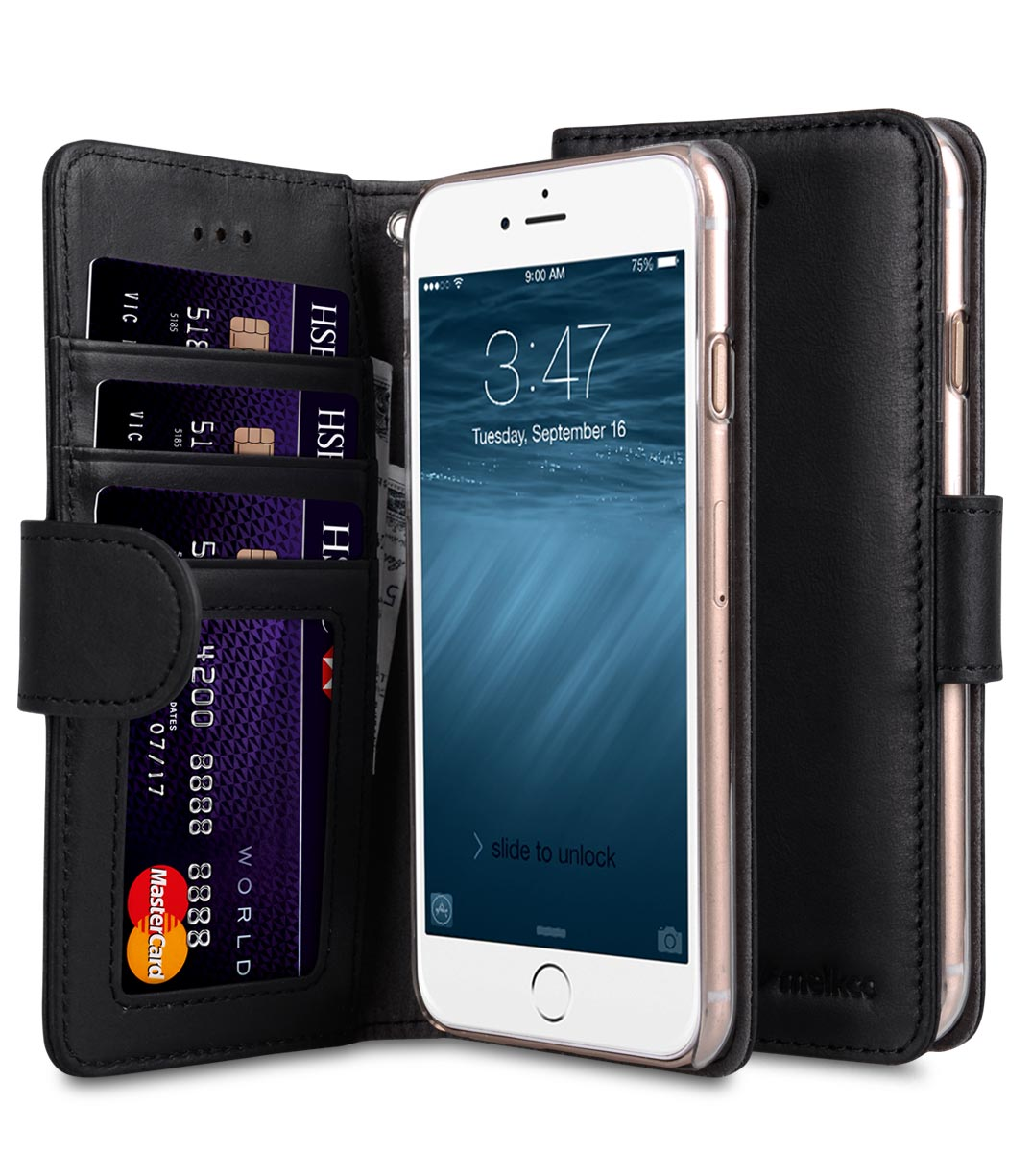 "Melkco Premium Leather Case Wallet Book ID Slot Type for Apple iPhone 7 / 8 (4.7"") (Vintage Black)"