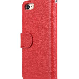 """Melkco Premium Leather Case for Apple iPhone 7 / 8 (4.7"""") - Wallet Book ID Slot Type (Red LC)"""