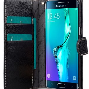 Melkco Premium Leather Case for Samsung Galaxy S6 Edge Plus - Wallet Book Type (Black LC)