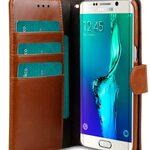 Melkco Mini PU Case for Samsung Galaxy S6 Edge Plus – Wallet Book Type (Brown PU)