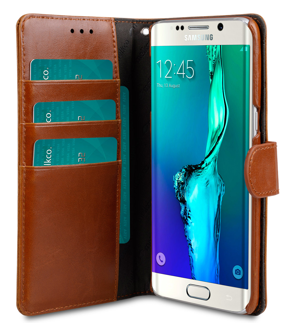 Melkco Mini PU Case for Samsung Galaxy S6 Edge Plus – Wallet Book Type (Brown PU)