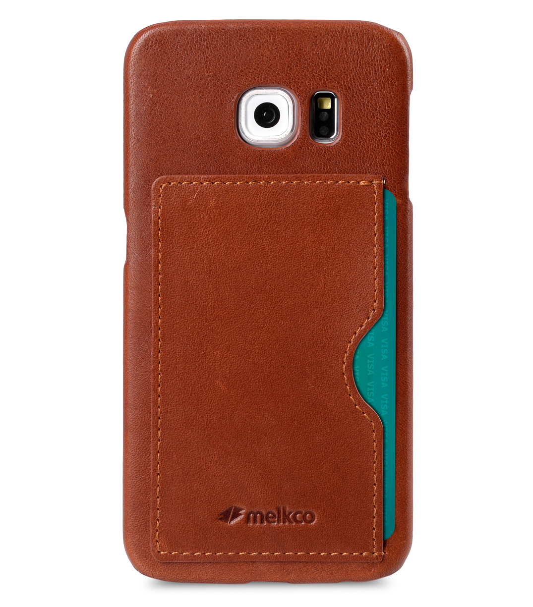 Melkco Mini PU Cases - Snap Cover With Back Card Slot for Samsung Galaxy S6 Edge (Traditional Vintage Brown PU)