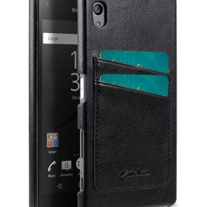 Melkco Mini PU card slot back cover for Sony Xperia Z5 – (Dual card slots) – Black PU