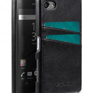 Melkco Mini PU card slot back cover for Sony Xperia Z5 Mini – (Dual card slots) – Black PU