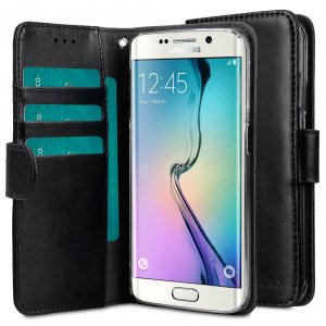 Melkco Mini PU Cases Wallet Book Clear Type for Samsung Galaxy S6 Edge – Black PU
