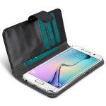 Melkco Mini PU Cases Wallet Book Clear Type for Samsung Galaxy S6 Edge – Black PU