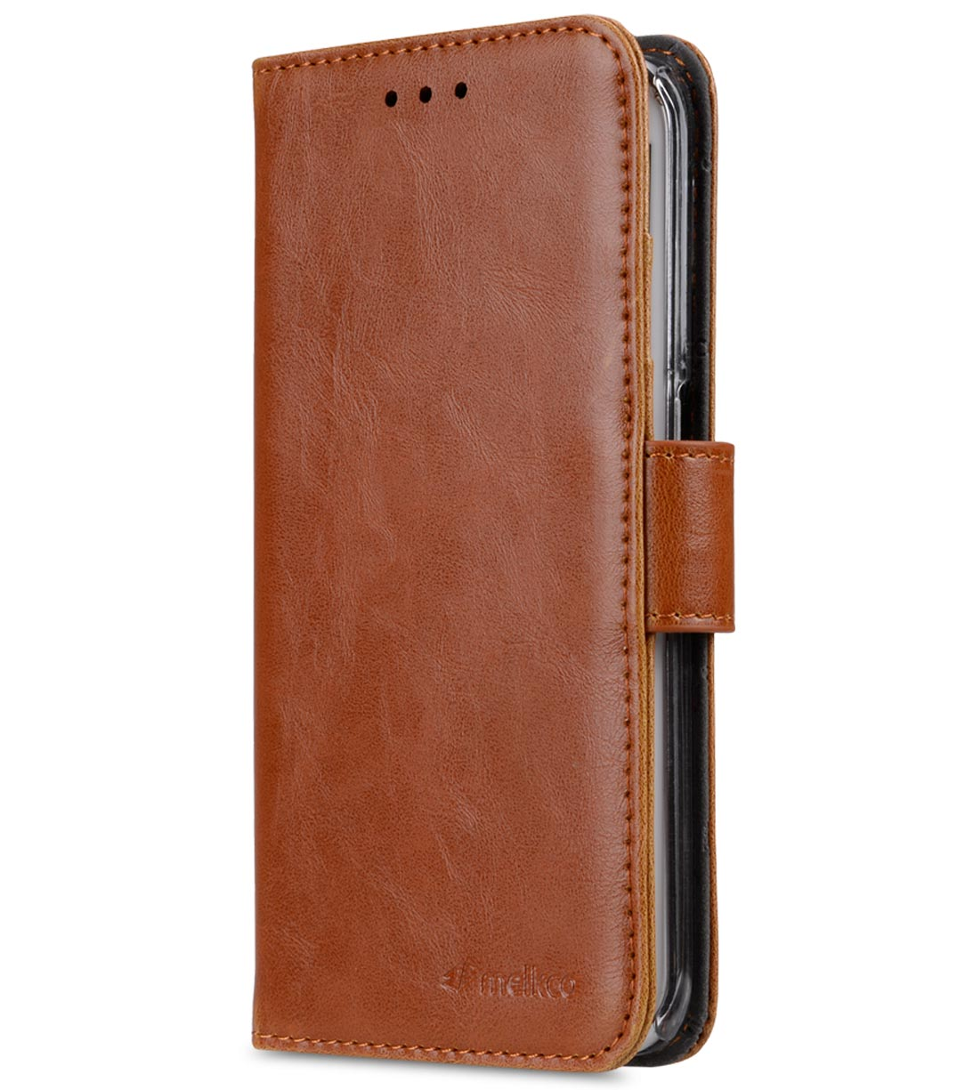 Melkco Mini PU Cases Wallet Book Clear Type for Samsung Galaxy S6 Edge – Brown PU