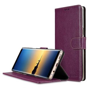 Melkco Premium Leather Case for Samsung Galaxy Note 8 - Wallet Book Clear Type Stand (Purple LC)