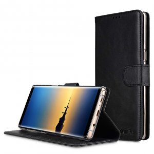 Premium Leather d Case for Samsung Galaxy Note 8 - Wallet Book Clear Type Stand