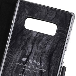 Melkco Premium Leather d Case for Samsung Galaxy Note 8 - Wallet Book Clear Type Stand (Vintage Black)