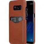 Melkco Premium Leather Case for Samsung Galaxy S8 Plus - Card Slot Back Cover V2 ( Orange Brown )