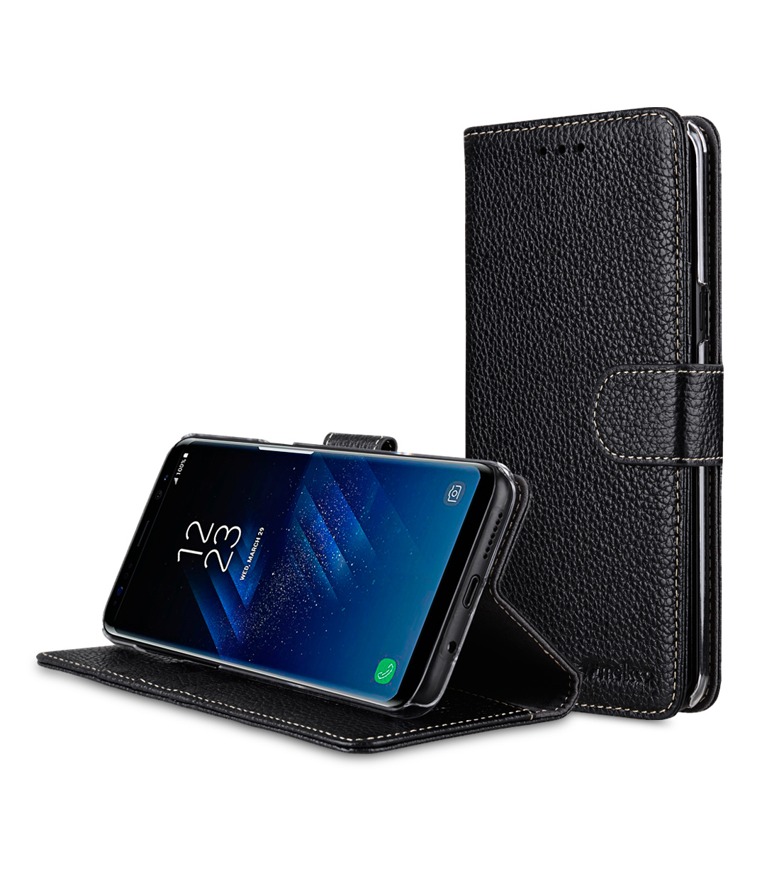 Premium Leather Case for Samsung Galaxy S8 - Wallet Book Clear Type Stand