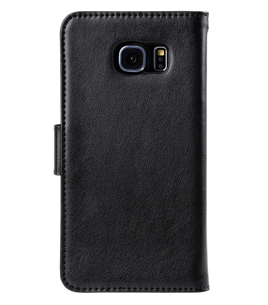 Melkco Mini PU Artificial Leather Case for Samsung Galaxy S6 Edge - Wallet Book Type (Black PU)