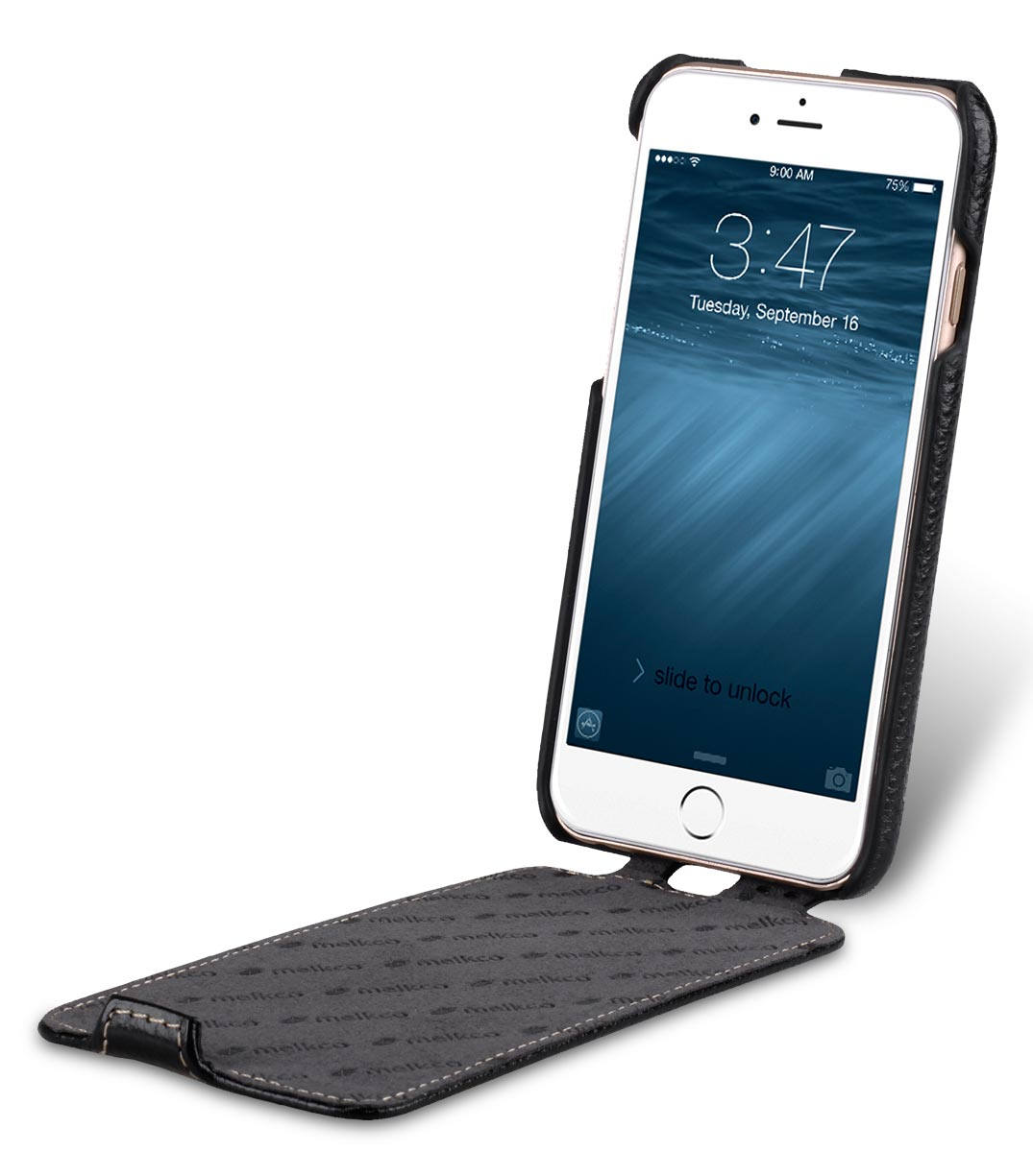 "Melkco Premium Leather Case for Apple iPhone 7 (4.7"") - Jacka Type (Black LC)"