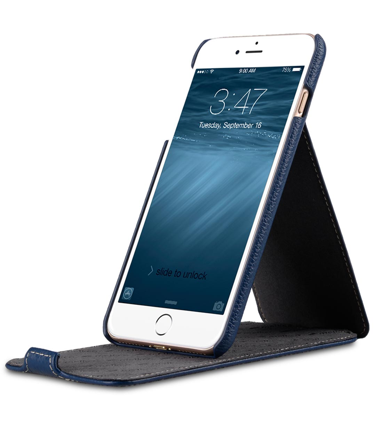 "Melkco Premium Leather Case for Apple iPhone 7 / 8 Plus (5.5"") - Jacka Stand Type (Dark Blue LC)"