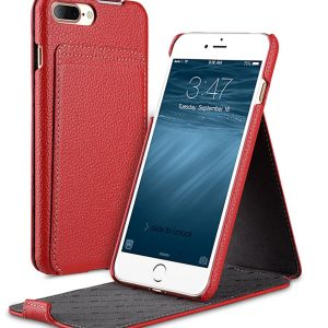 """Melkco Premium Leather Case for Apple iPhone 7 / 8 Plus (5.5"""") - Jacka Stand Type (Red LC)"""