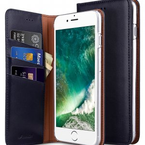 "Melkco Premium Cowhide Leather Herman Series Book Style Case for Apple iPhone 7 / 8 Plus (5.5"") (Blue)"