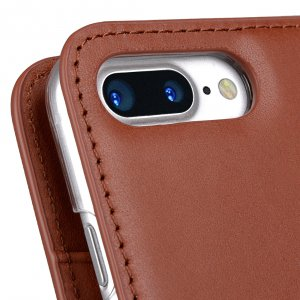"Melkco Premium Cowhide Leather Herman Series Book Style Case for Apple iPhone 7 / 8 Plus (5.5"") (Orange Brown)"