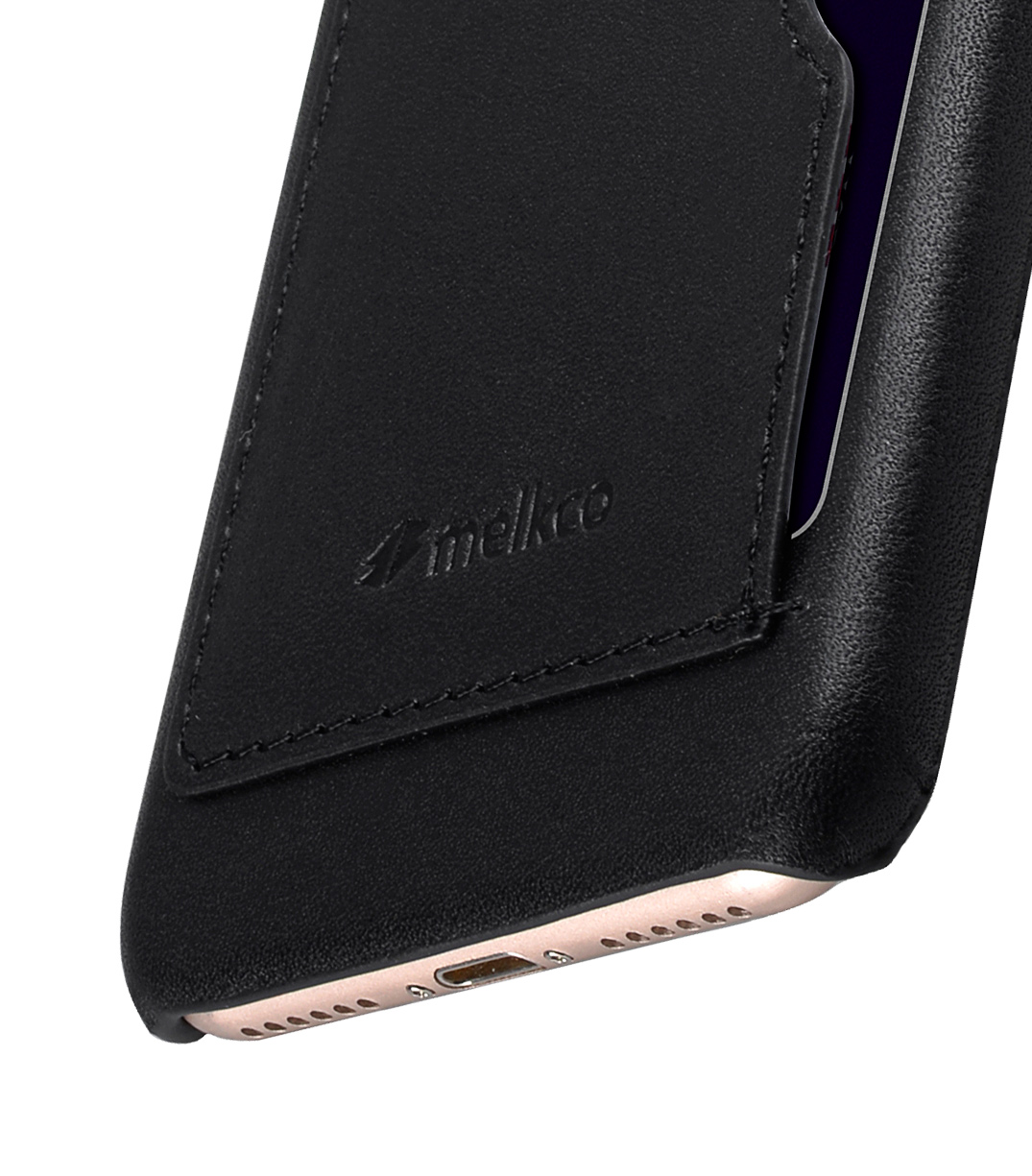 """Melkco Premium Leather Card Slot Snap Cover (Ver.1) for Apple iPhone 7 (4.7"""") (Black)"""