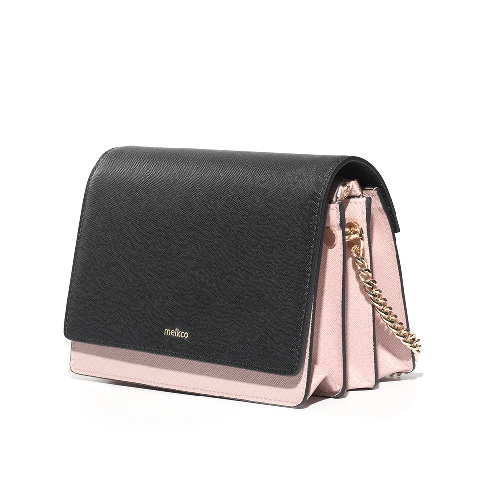 Melkco Fashion Accordion Series Mini Turnlock Flapover Crossbody Bag(Pink)