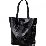 Francpod Camche Series Crocodile Pattern PU Leather Tote Bag - (Black)