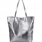Francpod Camche Series Crocodile Pattern PU Leather Tote Bag - Silver