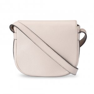 Melkco Blooming Series Mini Saddle Bag in Genuine Leather - Beige