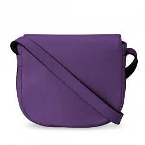 Melkco Blooming Series Mini Saddle Bag in Genuine Leather (Purple)