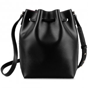 Melkco Fashion Memi Purden Bucket Bag in Cross pattern Genuine leather - Black