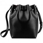 Melkco Fashion Memi Purden Bucket Bag in Cross pattern Genuine leather - Black