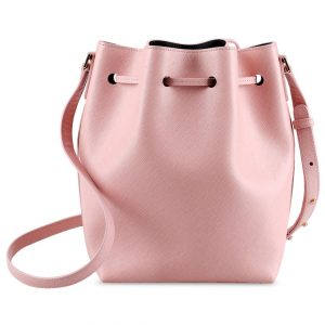 Melkco Fashion Memi Purden Bucket Bag in Cross pattern Genuine leather (Cherry blossoms)