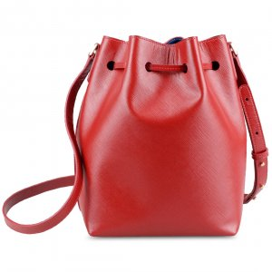 Melkco Fashion Memi Purden Bucket Bag in Cross pattern Genuine leather (Red)
