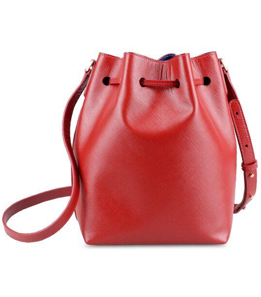Melkco Fashion Memi Purden Bucket Bag in Cross pattern Genuine leather (Red)
