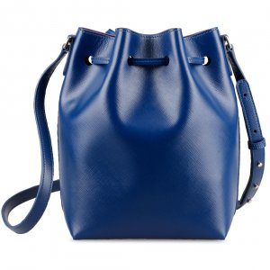 Melkco Fashion Memi Purden Bucket Bag in Cross pattern Genuine leather (Sapphire Blue)