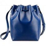 Melkco Fashion Memi Purden Bucket Bag in Cross pattern Genuine leather (Sapphire Blue)