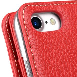 """Melkco Premium Leather Case for Apple iPhone 7 / 8 (4.7"""") - Wallet Plus Book Type (Red LC)"""