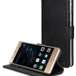 Premium Genuine Leather Case For Huawei P9 Lite - Wallet Book Type With Stand Function
