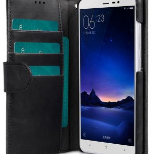 Melkco Mini PU Leather Case For Xiaomi Redmi Note 3 - Face Cover Book Type (Ver.3) (Classic Vintage Black PU)