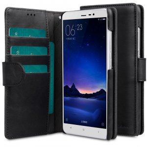 Melkco Mini PU Leather Case For Xiaomi Redmi Note 3 - Wallet Book Type (Classic Vintage Black PU)