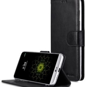 Premium Genuine Leather Case For LG G5 - Wallet Book Type With Stand Function