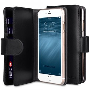 "Melkco Premium Leather Case for Apple iPhone 7 / 8 (4.7"") - Wallet Plus Book Type (Black)"
