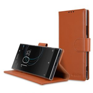 Melkco Premium Leather Case for Sony Xperia XA1 Ultra - Wallet Book Clear Type Stand ( Brown )