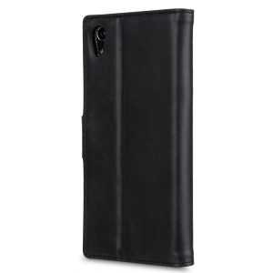 Melkco Premium Leather Case for Sony Xperia XA1 Ultra - Wallet Book Clear Type Stand ( Vintage Black )