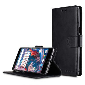 Premium Leather Case for One Plus 3 / 3T - Wallet Book Clear Type Stand