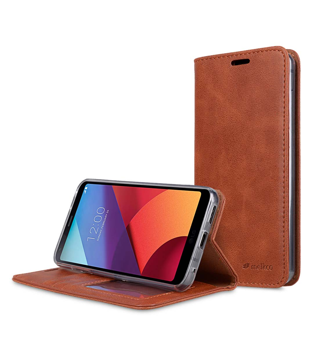 Book Type Series PU Leather Case for LG G6 - Livia Book Type (Brown)