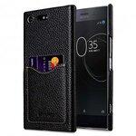 Premium Leather Card Slot Back Cover for Sony Xperia XZ Premium - (Black LC) Ver.2
