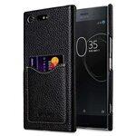 Premium Leather Card Slot Back Cover for Sony Xperia XZ Premium