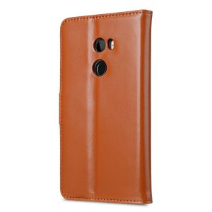 Premium Leather Case for HTC One X10 - Wallet Book Clear Type Stand (Brown CH)